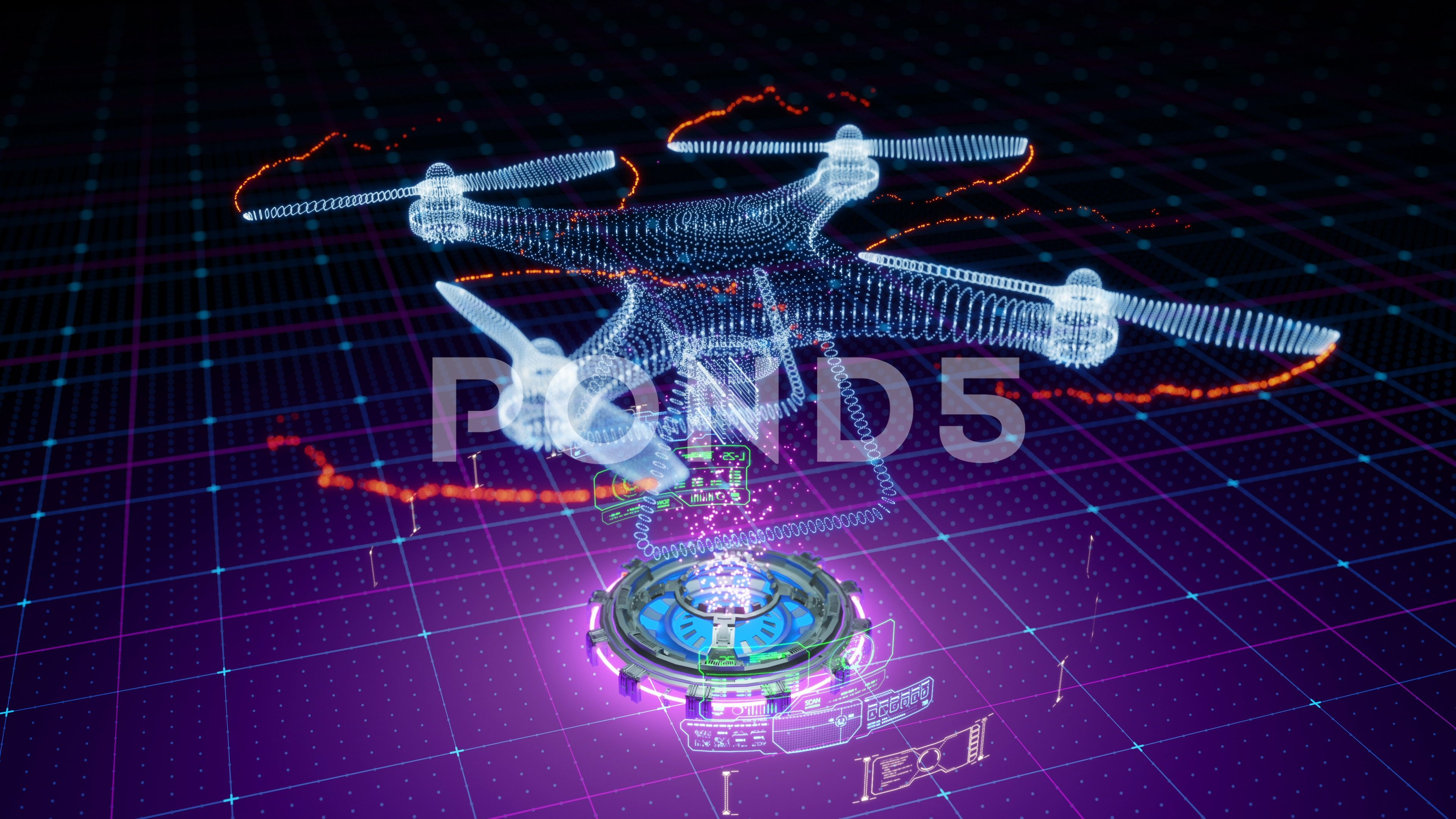 Abstract animation of quad copter drone formed by