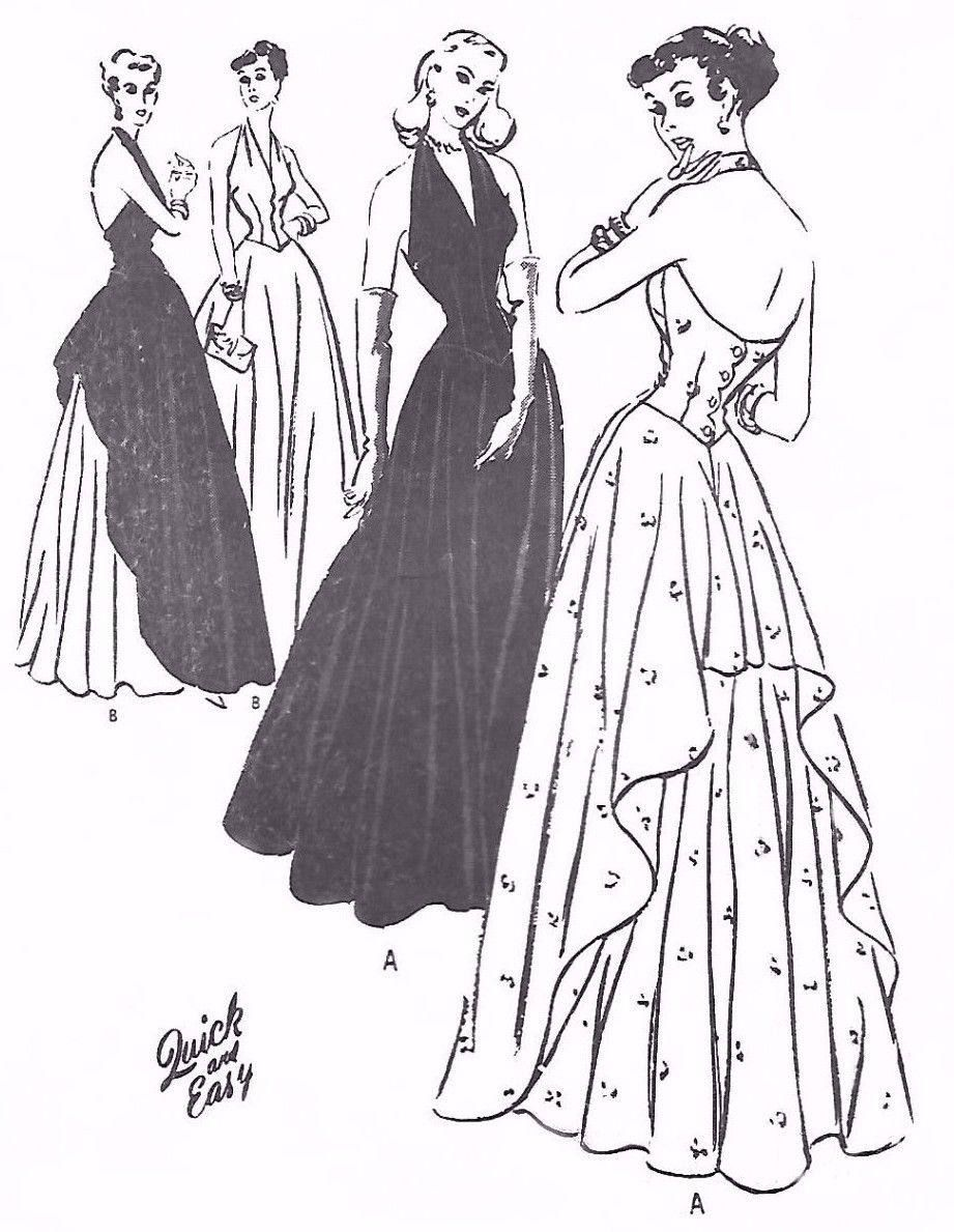 Vintage us sewing pattern wwii ww evening halter neck dance