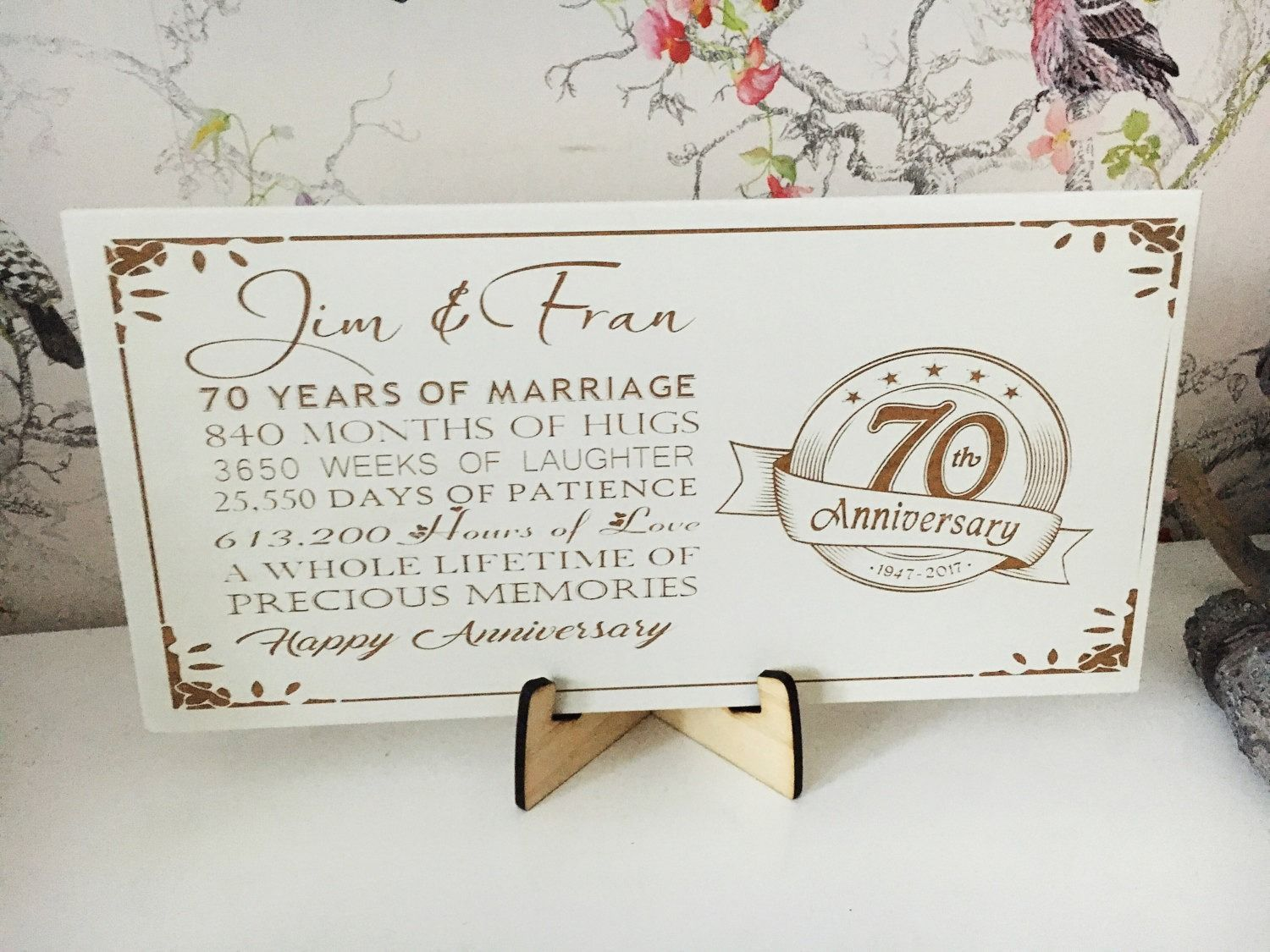 Personalised 70th anniversary wedding plaque in 2020