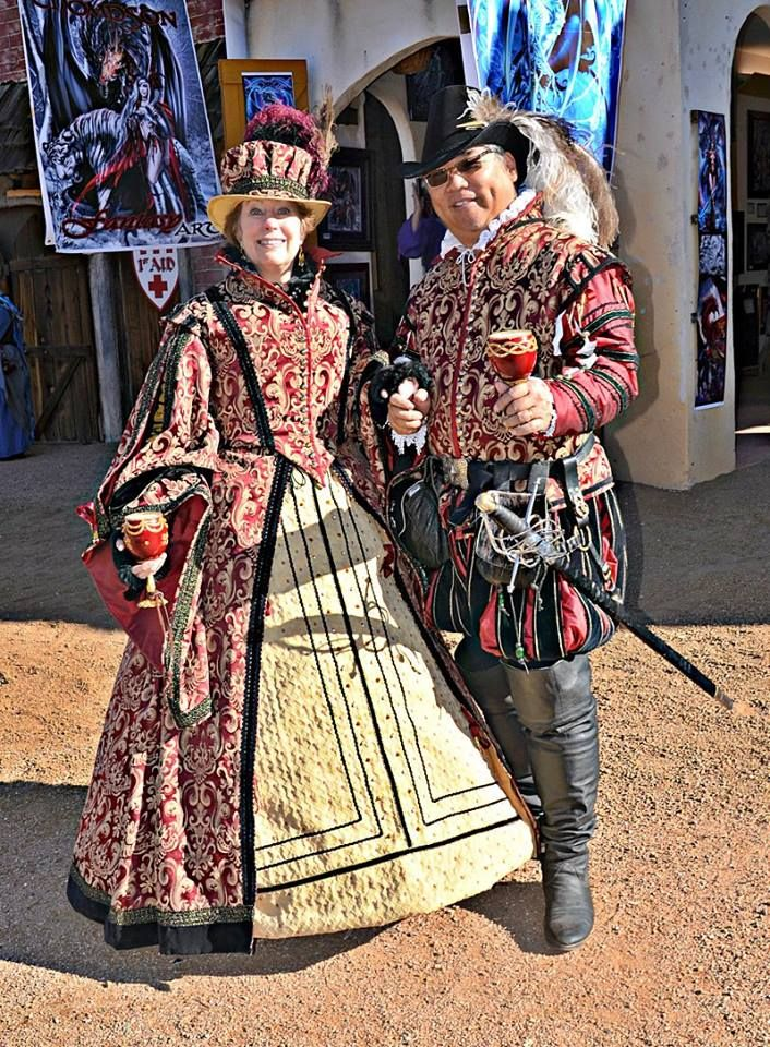 Spanish 16th century garb for two very delightful people! Beads and pearls were later added for more character.