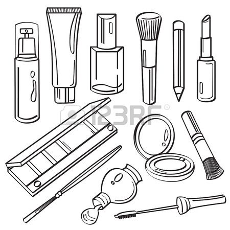 Cosmetic Products Collection Makeup Drawing Beauty Art Drawings Beauty Drawings