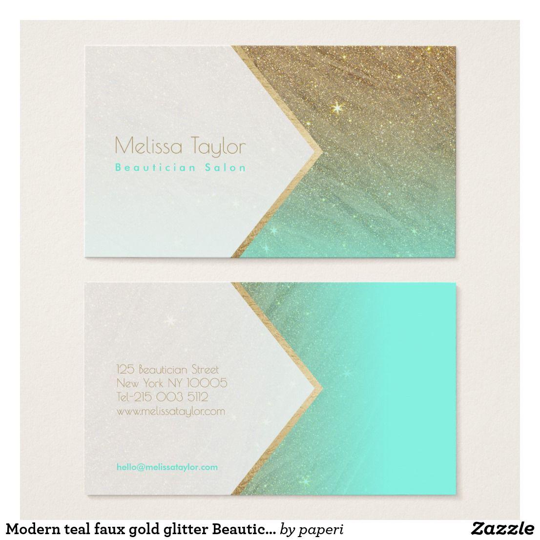 Modern teal faux gold glitter Beautician Salon Визитки