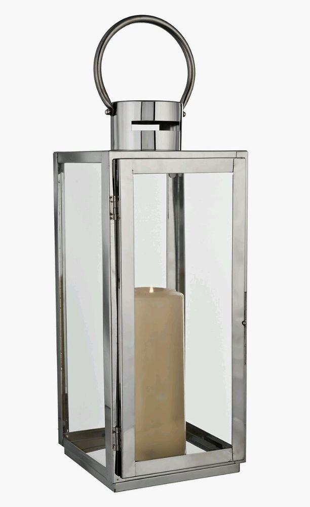 Silver Chrome Outdoor Metal Lantern Pillar Candle Holder NEW 40cm In Home,  Furniture U0026 DIY