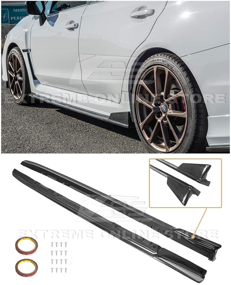 For 15 Up Subaru Wrx Sti Cs Version 2 Style Carbon Fiber Side Skirts Extensions In 2021 Subaru Wrx Subaru Wrx
