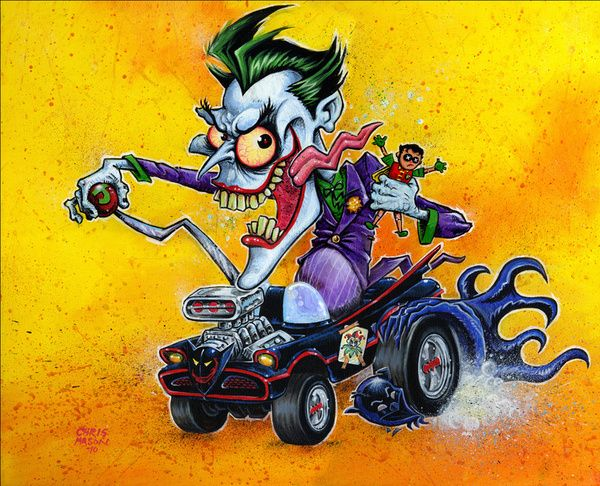 Hot Rod Joker Bat Mobile Art Print By Chris Mason Society6