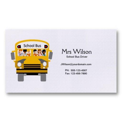 Custom School Bus Driver Business Card School Bus Driver School Bus Bus Driver