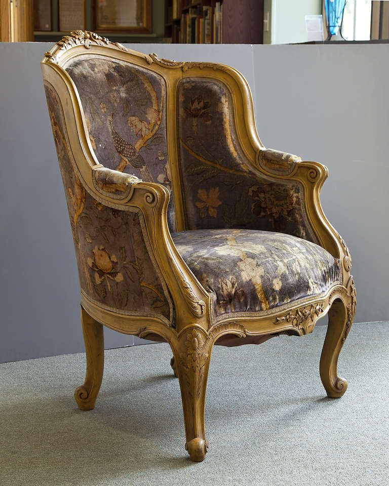 Pair Louis XIV Style French Antique Bergere Arm Chairs