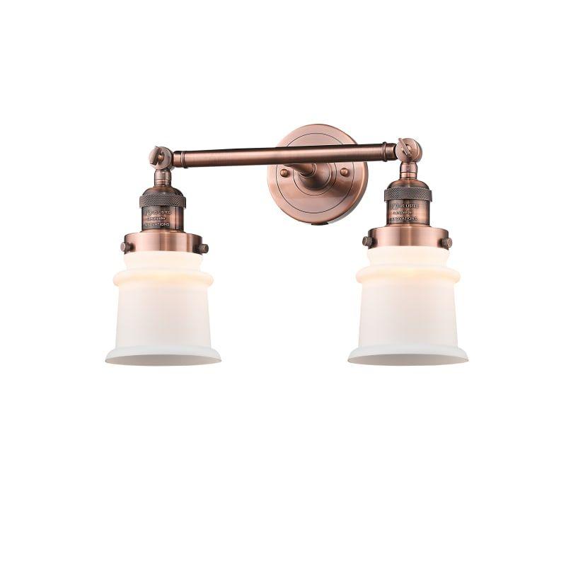 "Photo of Innovations Lighting 208 Small canton Small canton 2 lights 17 ""wide bathroom van Antique copper / matt white Interior lighting bathroom fixtures vanity"