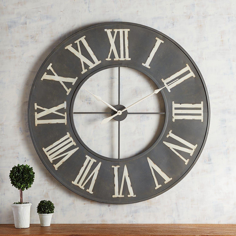 Rustic Gray Metal Wall Clock Rustic Wall Clocks