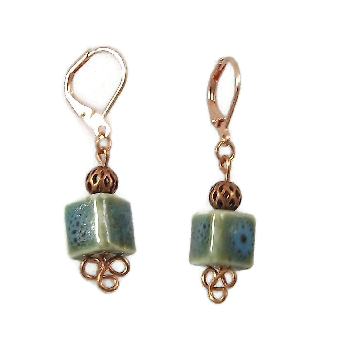 Handmade Copper Wire Earrings with teal and green square beads ...