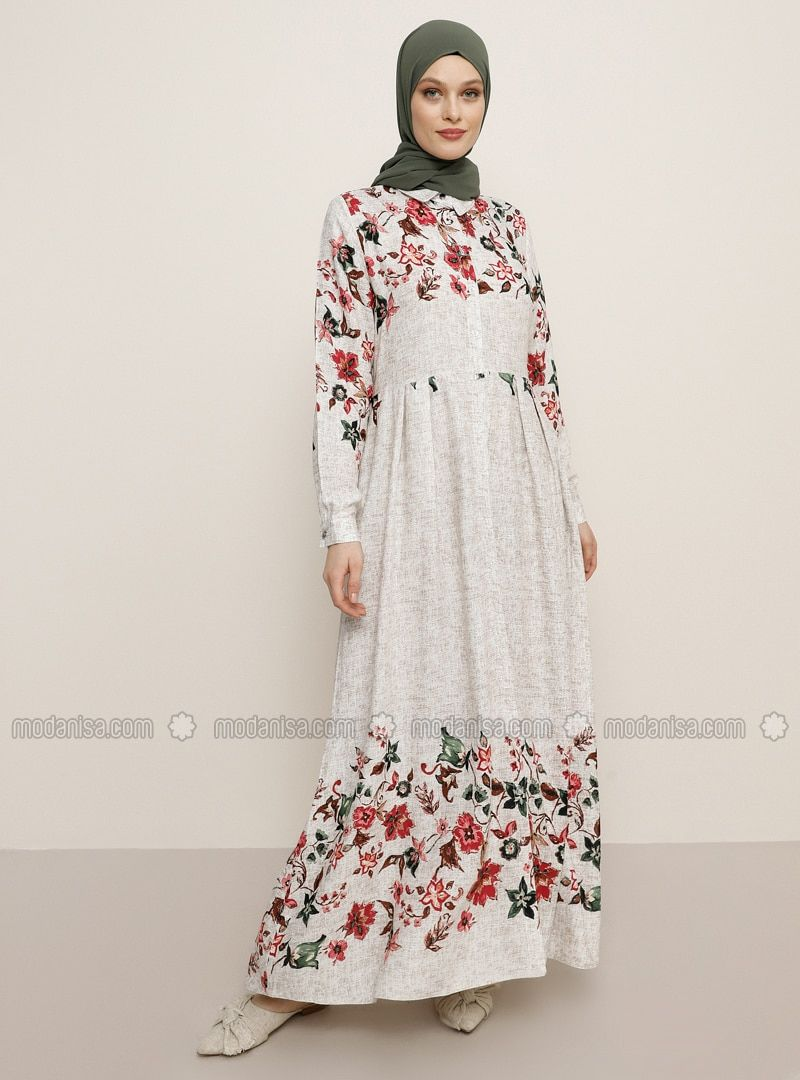 Beige Floral Point Collar Unlined Viscose Dress 2020 Elbise Modelleri The Dress Bej Elbiseler