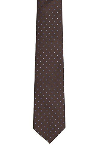 Slim tie - Woven Jacquard silk in solid brown - Notch SOLID Brown Notch 86328V