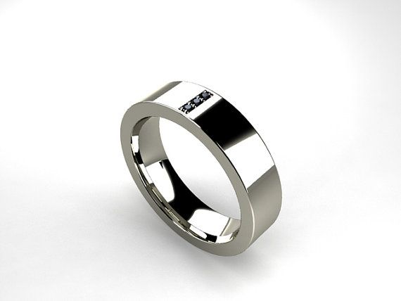 Titanium Ring Black Diamond Men Wedding Band Commitment Ring