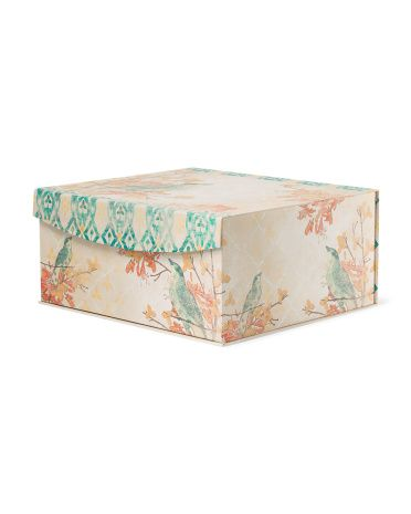 Large Linen Bird Storage Box Decorative Accents T J Maxx