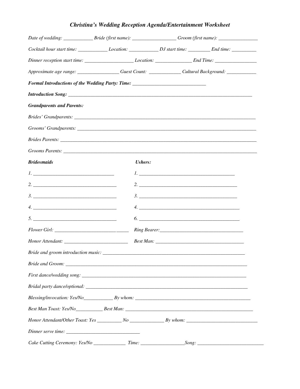 Dj Wedding Planner Printable Worksheets Quelles Astuces