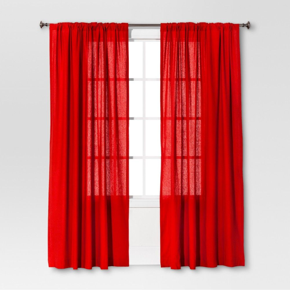 54 X84 Linen Light Filtering Curtain Panel Blue Threshold