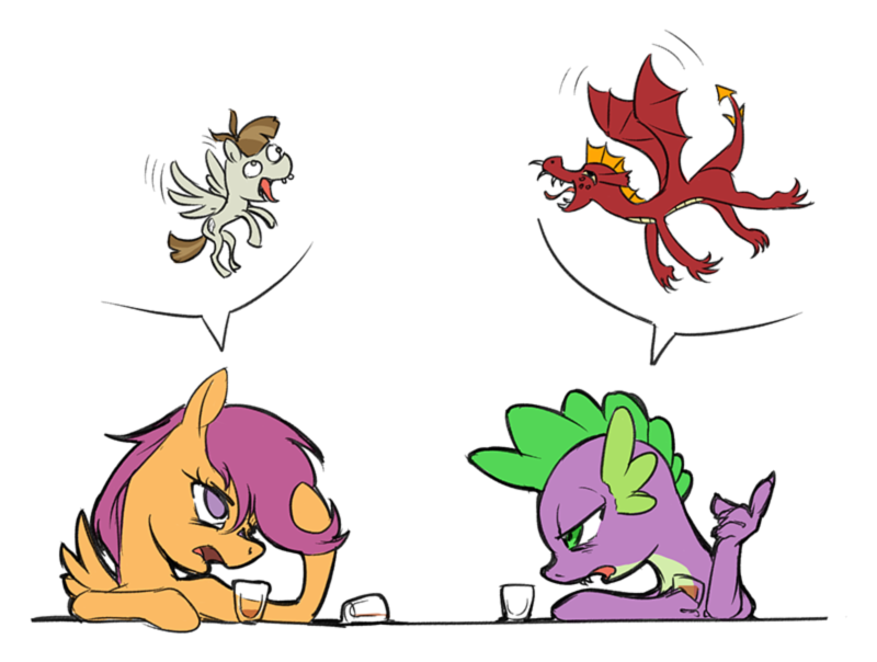 1009713 - alcohol, artist:madhotaru, dragon, drunk, featherweight ...
