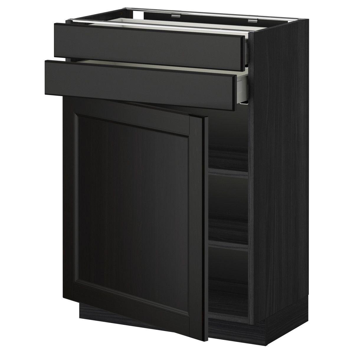METOD / MAXIMERA, Unterschrank mit Tür+2 Schubladen, schwarz Jetzt ...