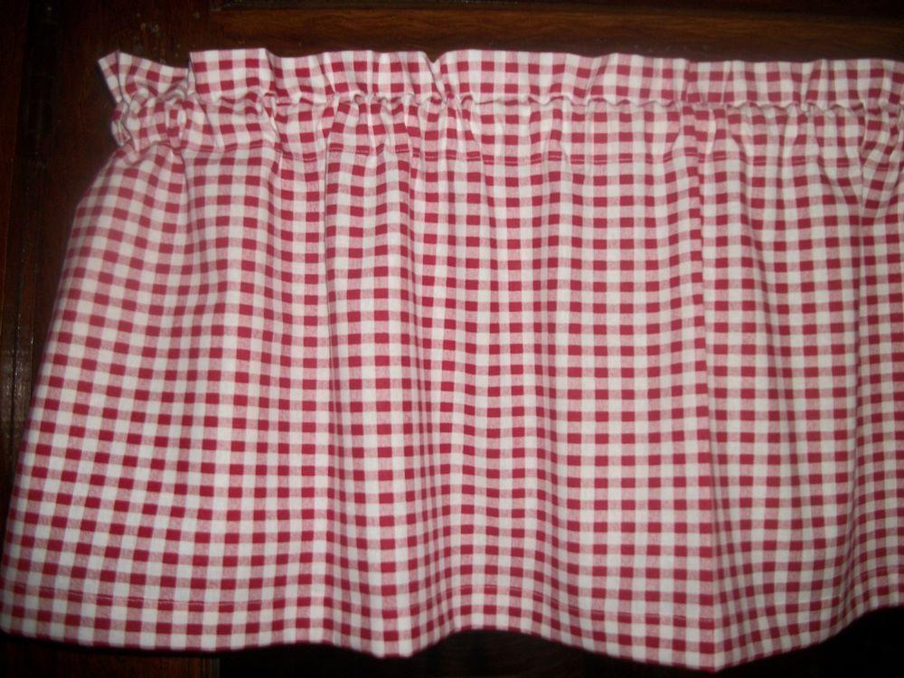 """Black White 2/"""" Checks Chef Coke Red Polka Dot Retro kitchen curtain Valance"""