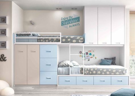 Dormitorio infantil con 2 camas tipo tren home interior - Habitaciones infantiles tren ...
