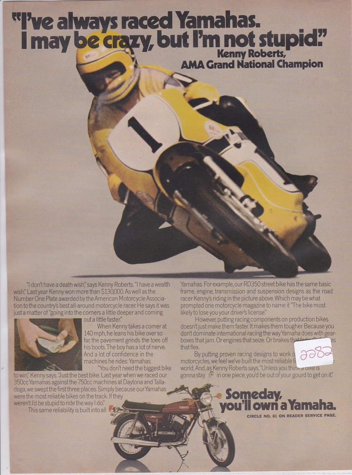 Yamaha RD350 Kenny Roberts Original Motorcycle Advertisement Ad 1974 | eBay