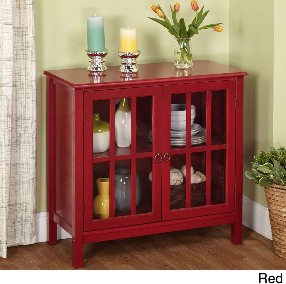 Glass Red Portland Door Cabinet