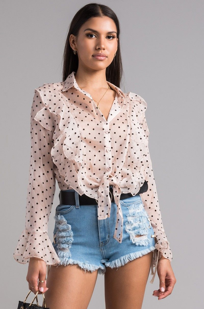 27bc1f45b7fbc3 AKIRA Sheer Polka Dot Long Flounce Sleeve Ruffled Tie Front Crop Top in  Ivory