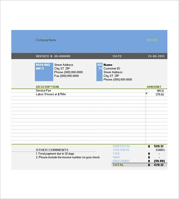 Tax Invoice Templates âu20acu201c 10+ Free Word, Excel, Pdf Format - services rendered invoice