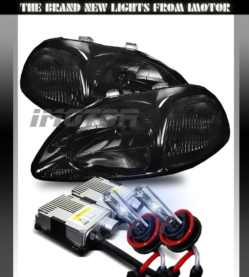 Attirant 96 98 Honda Civic JDM Smoke Crystal Clear Headlights/8000K Bi Xenon H