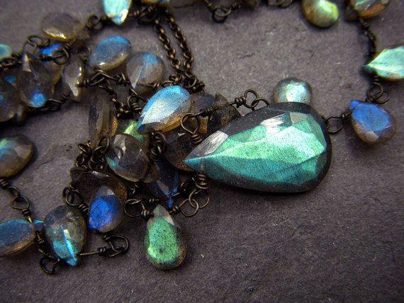 Labradorite necklace - long layering gemstone chain necklace - iridescent flashy blue green gemstones in black sterling - Summer fireflies