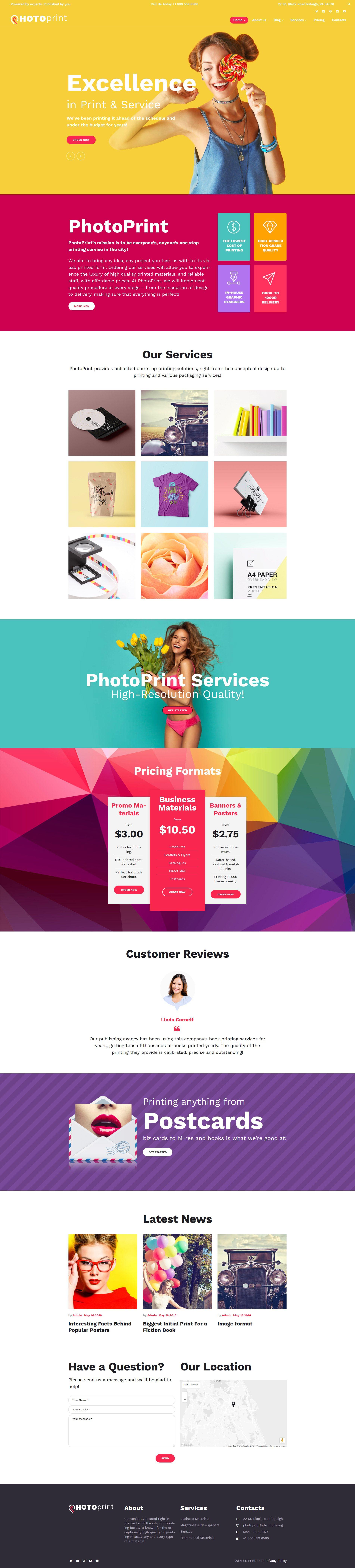 PhotoPrint - Print Shop Responsive WordPress Theme - http://www ...