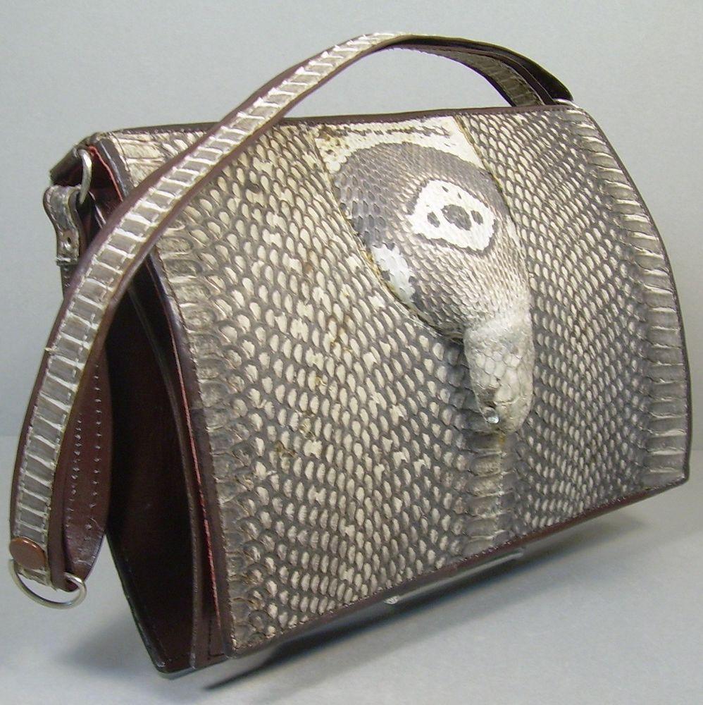 Vintage 60s Cobra Snake Head Snakeskin Shoulder Bag Purse Handbag Movie  Costume  Unbranded  ShoulderBag 0943b96529193
