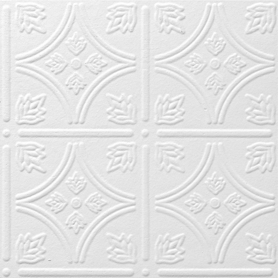Shop armstrong tin look tintile homestyle 40 pack white patterned armstrong ceilings common x actual x tin look tintile homestyle white faux tin surface mount acoustic ceiling tiles at lowes dailygadgetfo Image collections