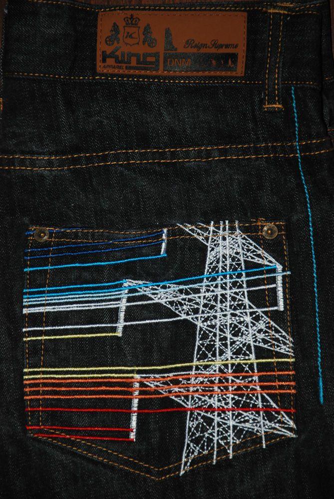 35d64353dca King Apparel Supreme Electric High Voltage Mens Jeans Black 32 30 Hip Hop  Style Dark Wash