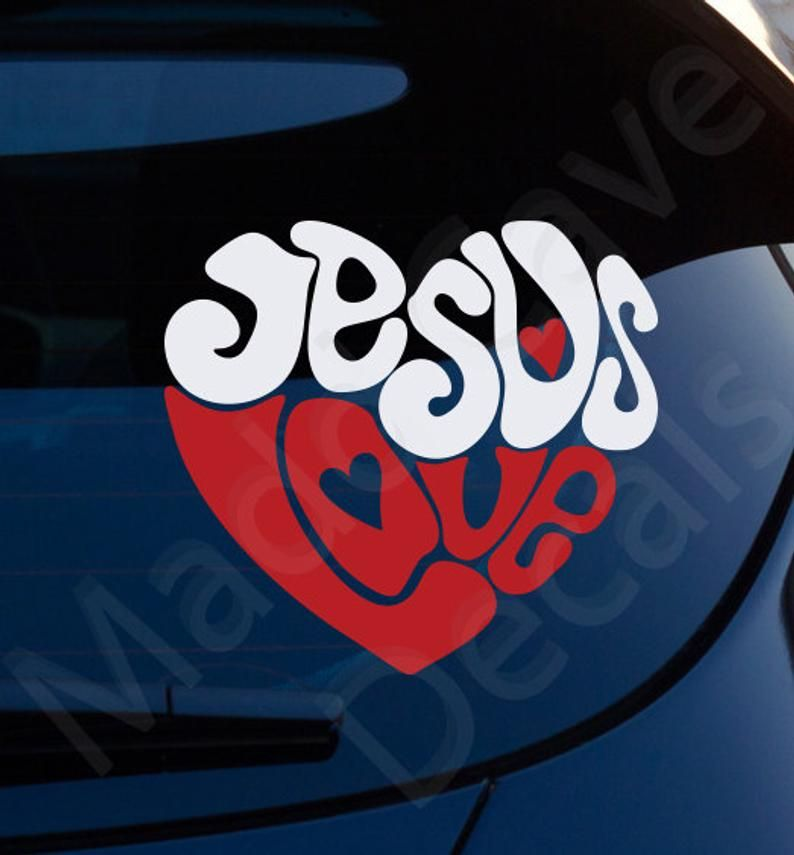 Jesus Love Hearts Christian Decal Car Laptop Graphic Sticker