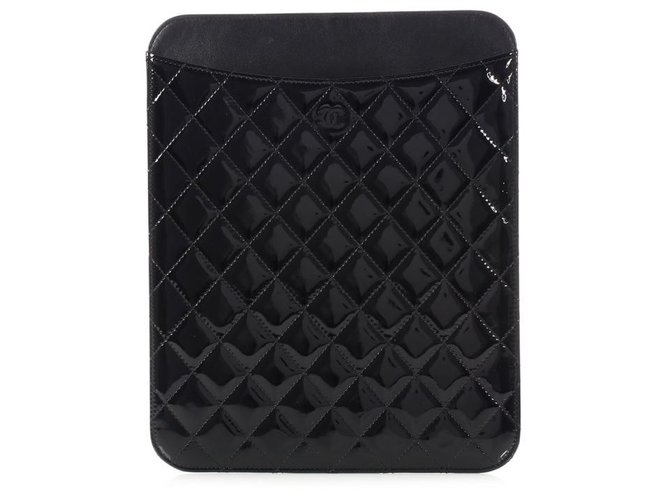 Chanel Black Patent Ipad Case