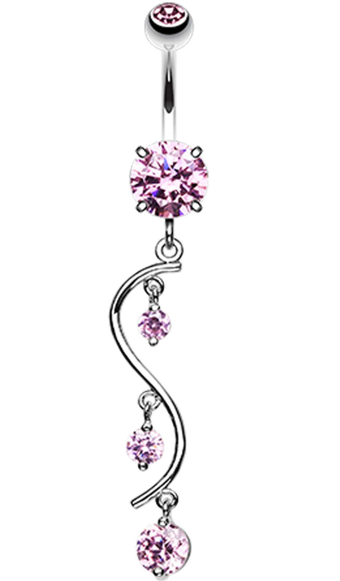 Belly piercing jewelry  Vine Swirl Sparkle Belly Button Ring   GA mm  Pink  Sold
