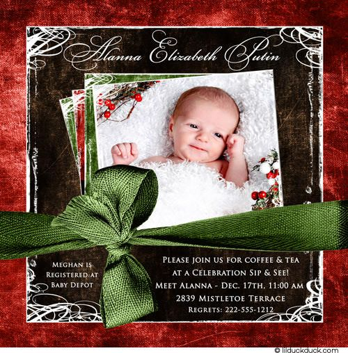 Newborn Welcome Party Holiday Invitation Photo Festive – Welcome Party Invitation