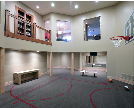 A Look At Some Private Indoor Basketball Courts From Houzz Com Home Basketball Court Basketball Room Home Gym Design