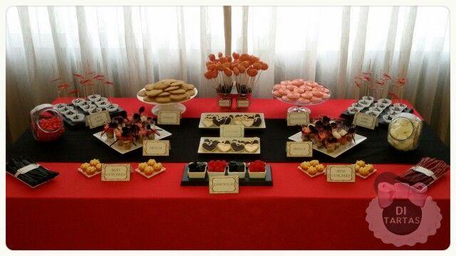 Mesa dulce de boda en tonos rojo negro blanco y beig - Mesa de dulces para boda ...