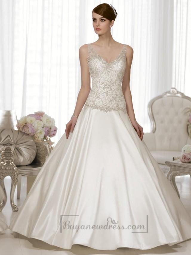 This vintage-inspired wedding dress in Luxe Taffeta features a ...