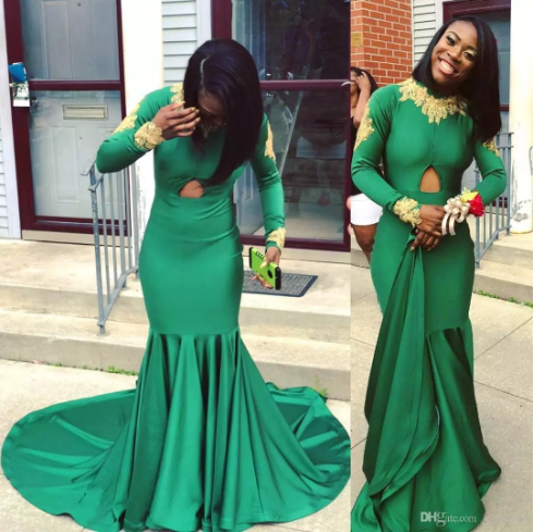 Emerald Green with Gold Appliques Vintage Prom Dresses For Black Girls  Evening Party Gowns Mermaid High Neck Sweep Train Vestidos de fiesta cde37bdb203a