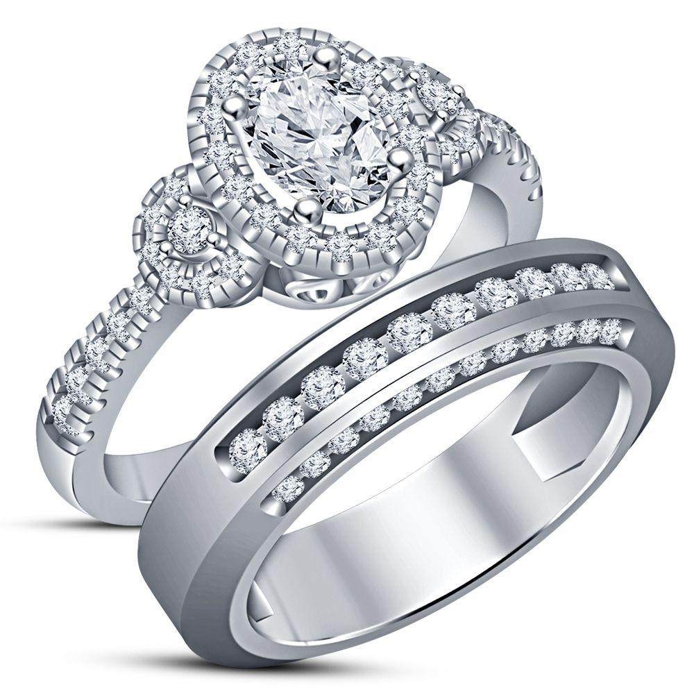 Oval Shape Cubic Zirconia Wedding Ring Bridal Set White