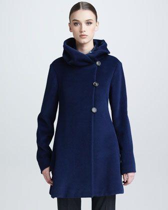 Twisted-Collar Swing Coat by Armani Collezioni at Bergdorf Goodman ...