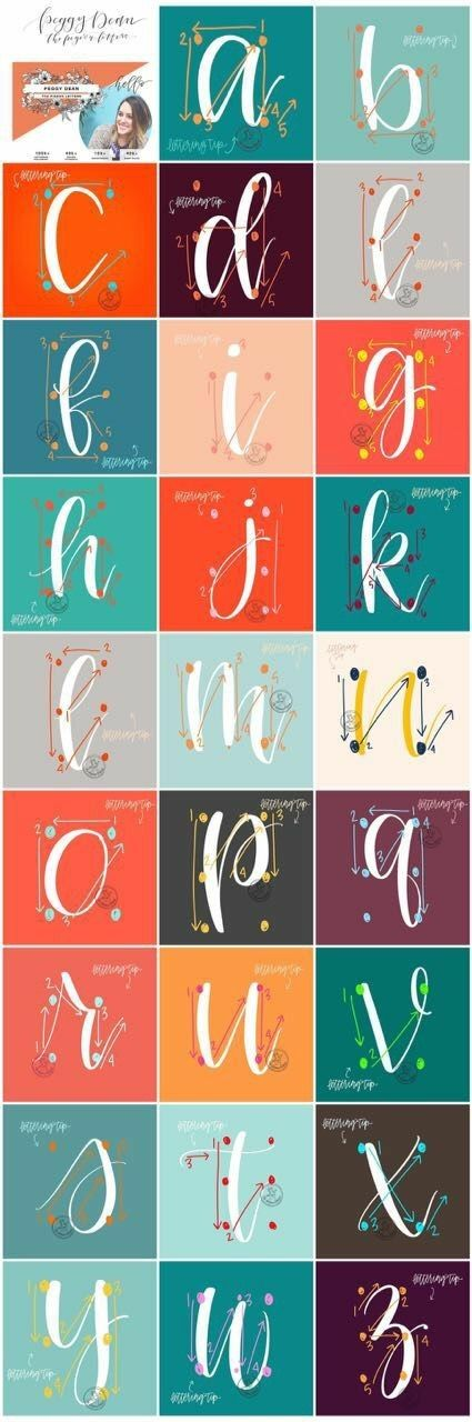 Photo of Brush lettering guided alphabet calligraphy writing