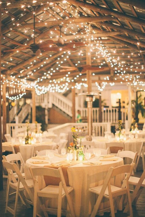 White Christmas Lights Lots Of Rafters Your Reception Venue Right They Can Add Glamor W Out The Larger Expense Candles Or Hanging