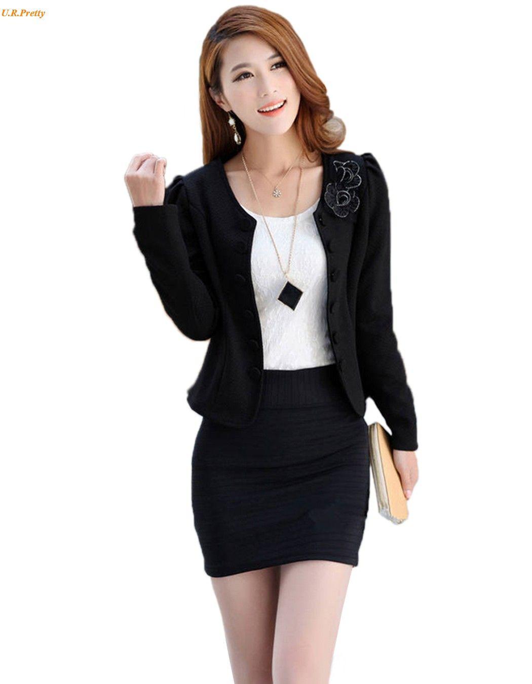 Women work wear blazer short coat women suit plus size basic long