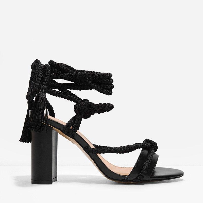Rope Tie Heel Sandals Black Block Heel Sandals Black Tie Shoes Black Sandals Heels