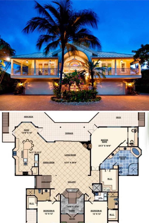 Three Story 3 Bedroom The Ocean Dream House Floor Plan Beach House Plan Luxury Homes Dream Houses Dream House