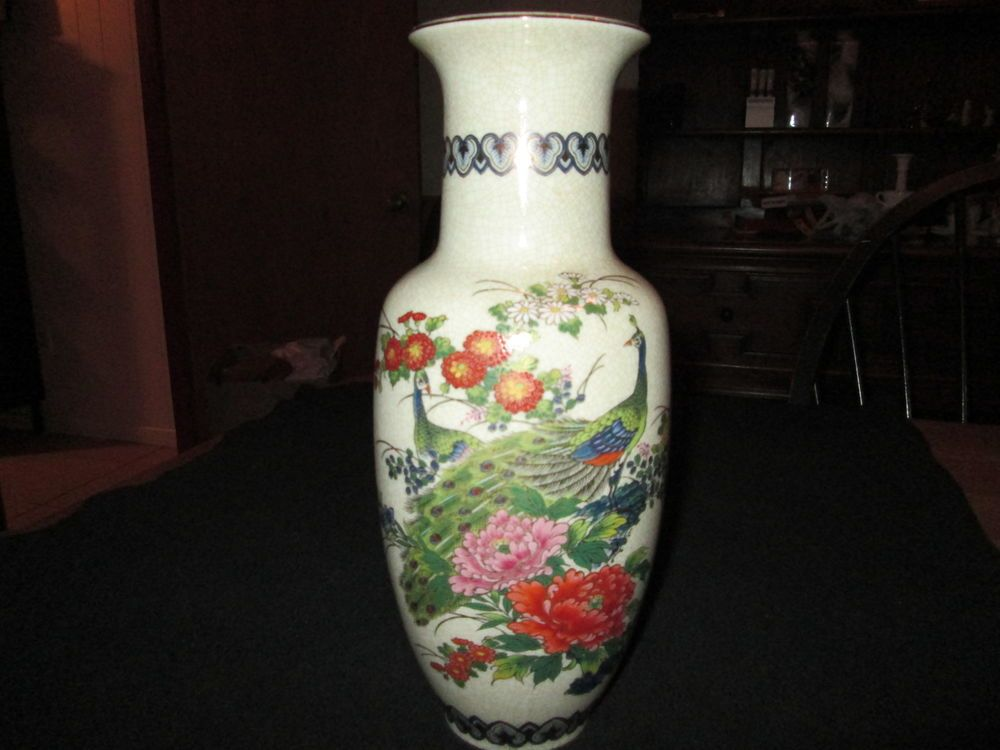 Vintage Andrea By Sadek Vase 12 14 Tall Hand Painted Made In Jap